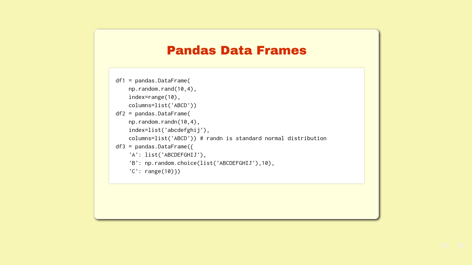 Slide: Pandas Data Frames