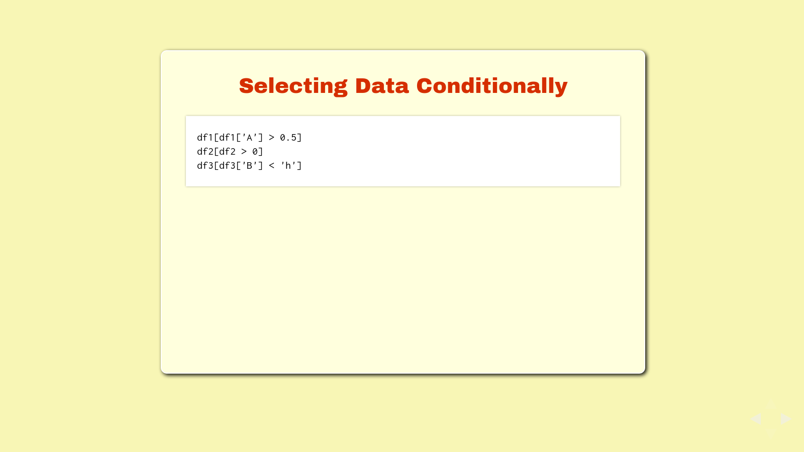 Slide: Selecting data conditionally