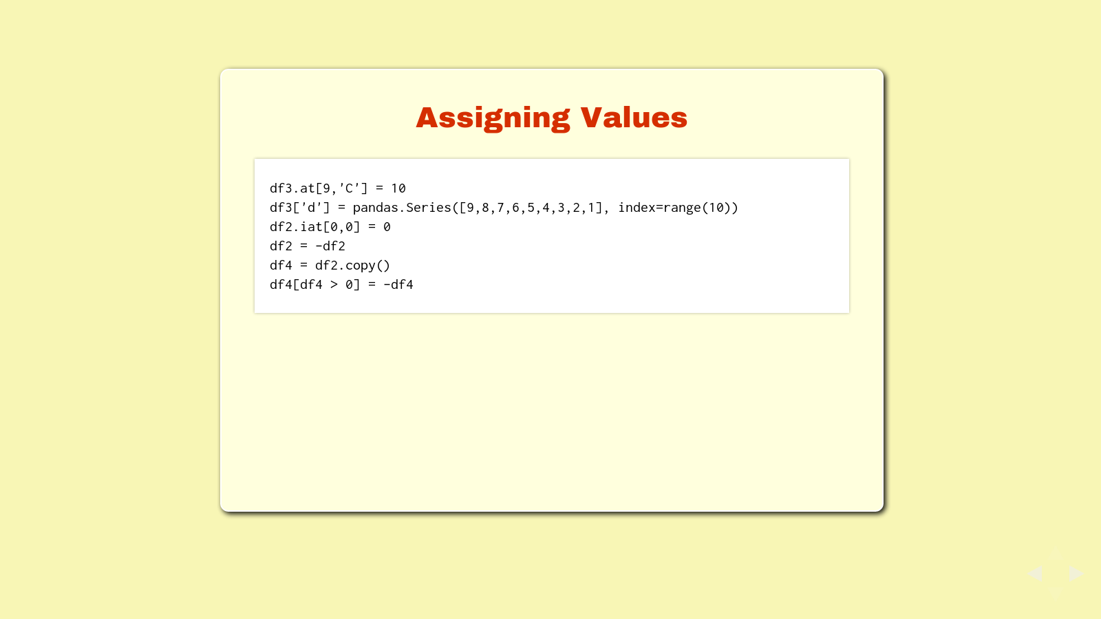 Slide: Assigning values