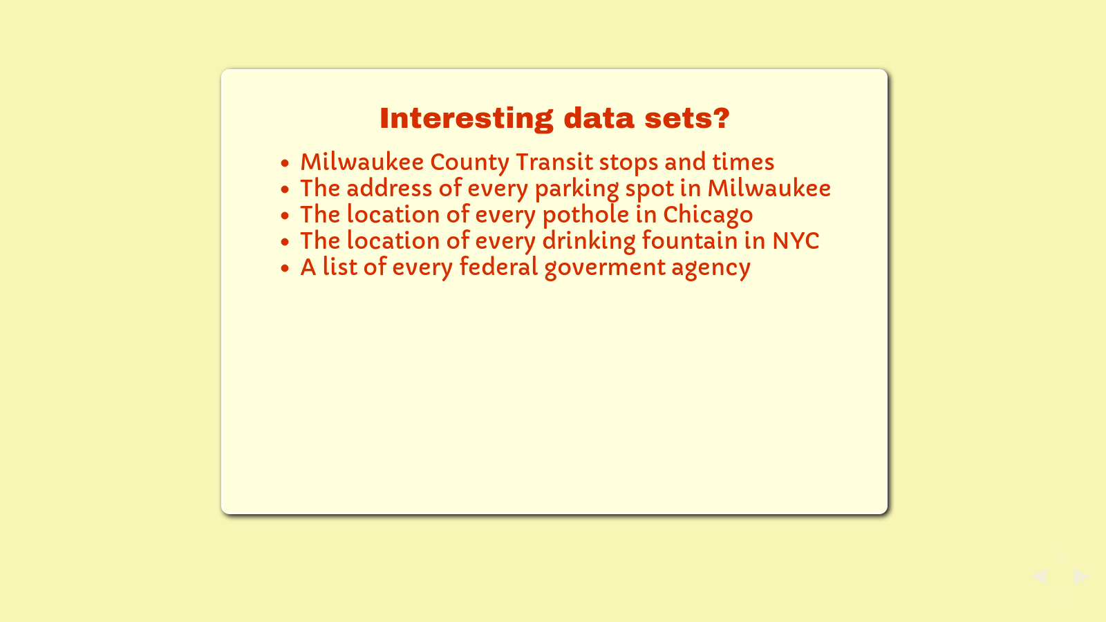 Slide: Cool data sets