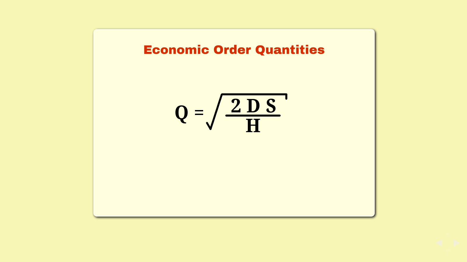 Slide: Economic Order Quantities