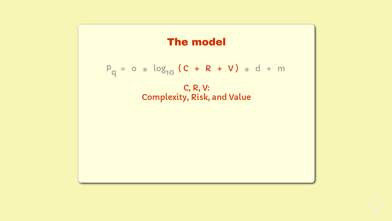 Slide: The formula, highlighting '(C + R + V)'