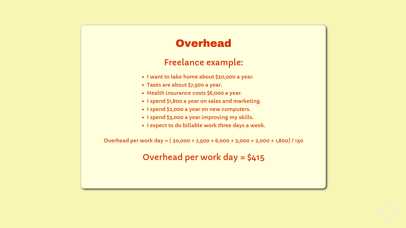 Slide: Overhead example, freelancers