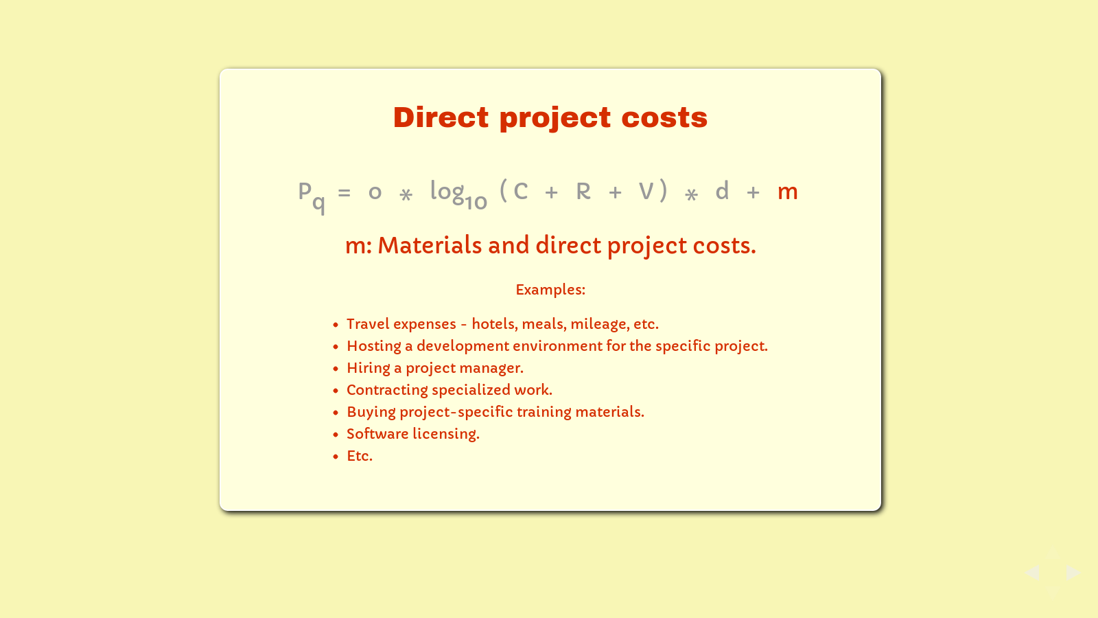 Slide: Project costs, 'm'