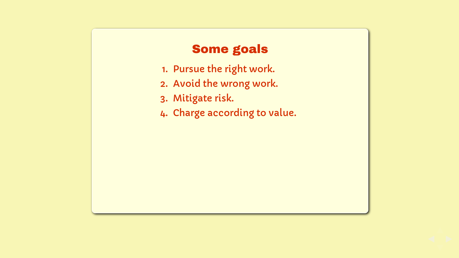 Slide: List of goals.