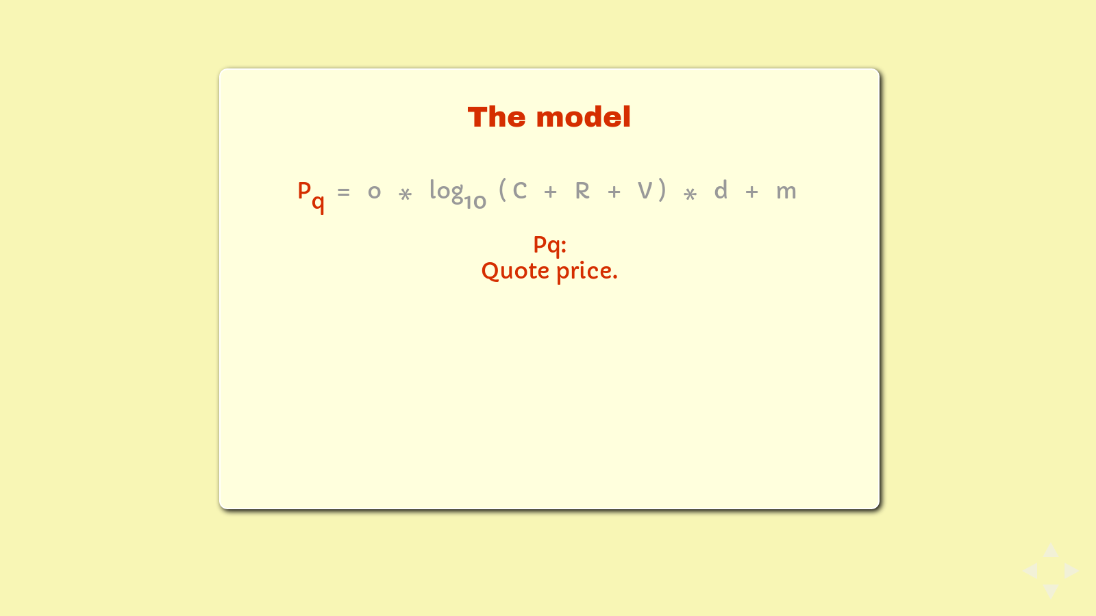Slide: The formula, highlighting 'Pq ='