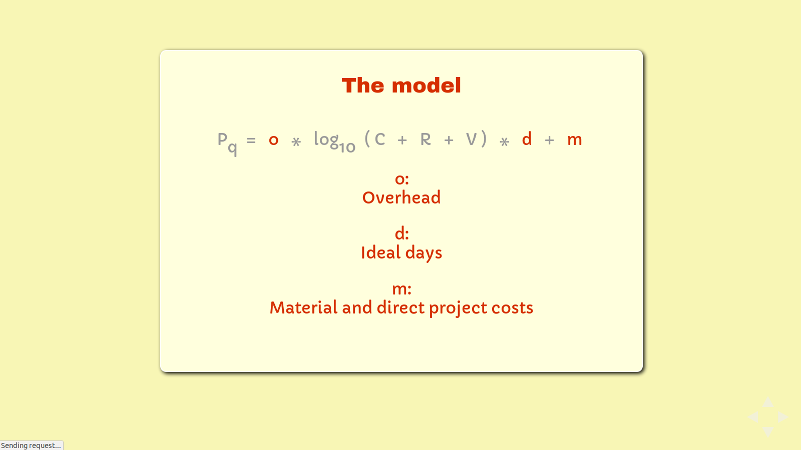 Slide: The formula, highlighting 'o', 'd', and 'm'