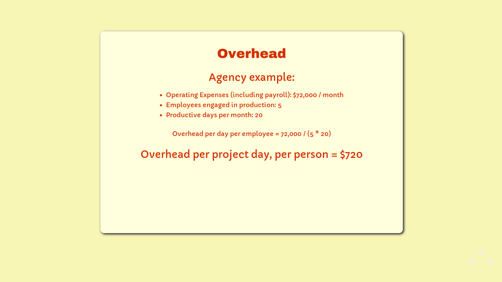 Slide: Overhead example, agencies