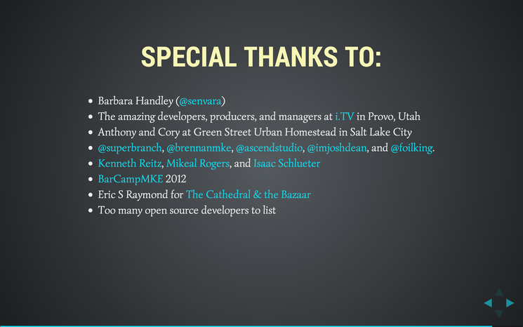 Slide: Special thanks.