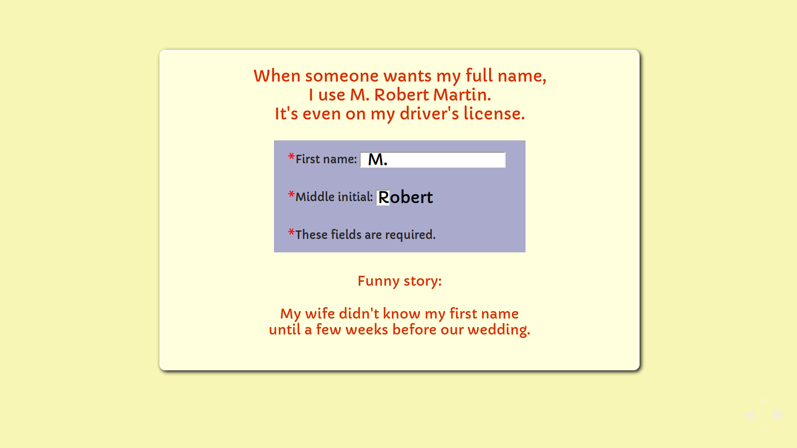 Slide: web form with a middle initial box