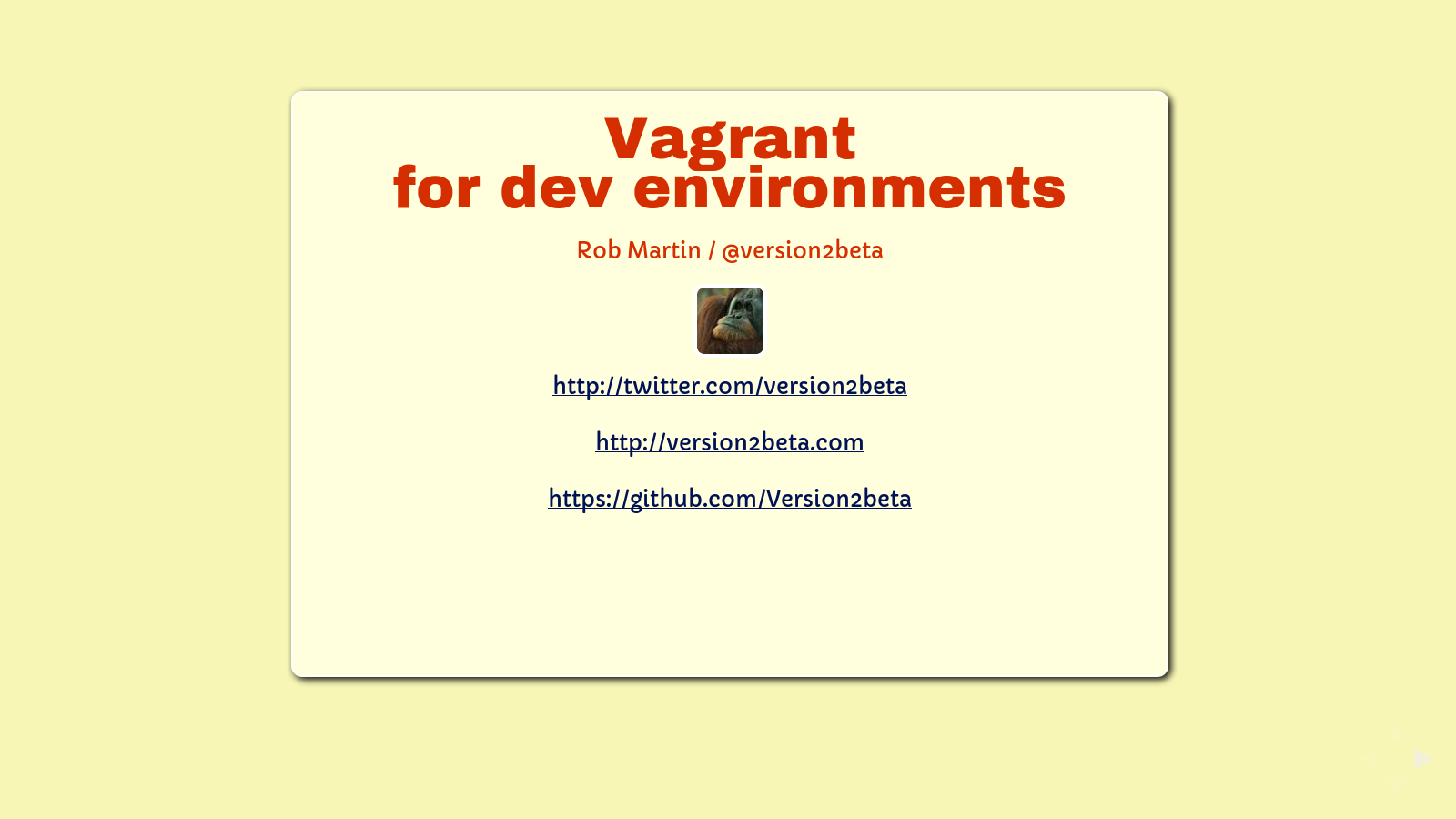 Slide: @version2beta and contact info