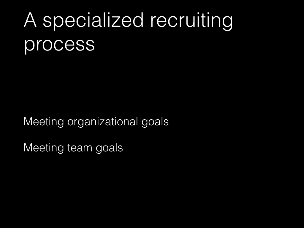 Slide: A specialized recruiting process