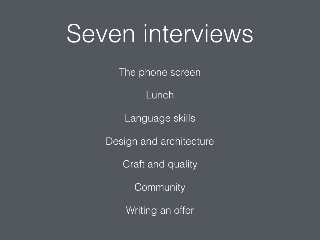 Slide: Seven interviews