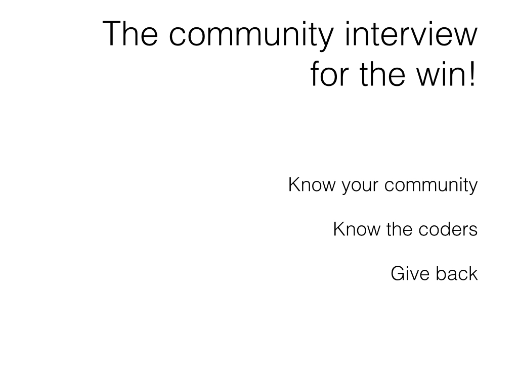 Slide: Candidates - the community interview