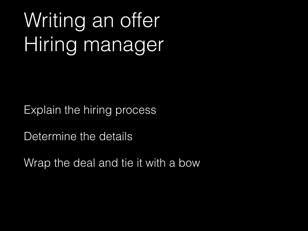 Slide: Managers - designing an offer
